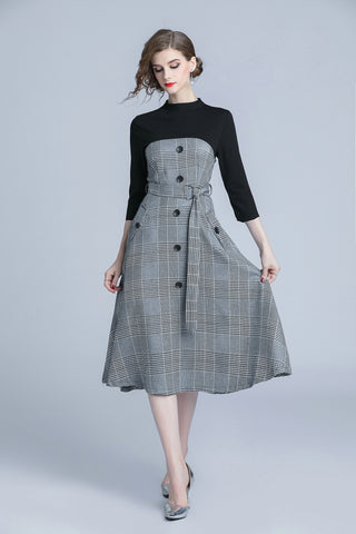 3/4 SLEEVE CONTRAST A-LINE DRESS W/BELT