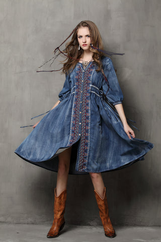 HALF SLEEVE BUTTON FRONT DENIM DRESS