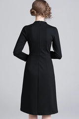 LONG SLEEVE STAND-UP COLLAR FRONT SHORT SLIT EMBROIDERY DRESS