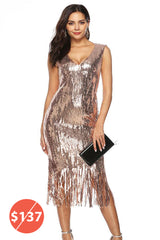 SLEEVELESS DEEP V-NECK SEQUIN SHEATH DRESS WITH TASSELS HEM