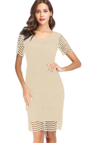 SHORT SLEEVE HOLLOW OUT V-NECK SHEATH DRESS
