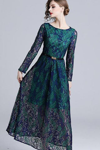 LONG SLEEVE LACE MAXI DRESS