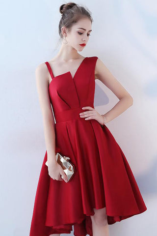 UNEVEN SHOULDER HIGH LOW FORMAL DRESS