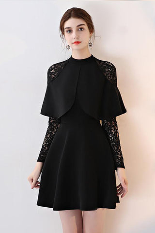 LONG LACE SLEEVE CONTRAST OVERLAY DRESS