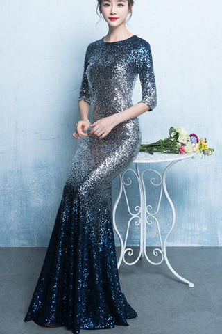 HALF SLEEVE SEQUIN FISHTAIL FORMAL DRESS