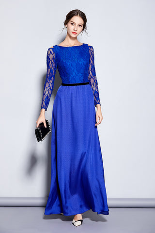 LONG SLEEVE CONTRAST LONG FORMAL DRESS