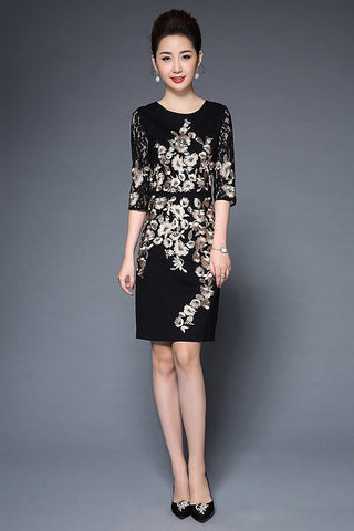 HALF SLEEVE EMBROIDERY MIDI DRESS