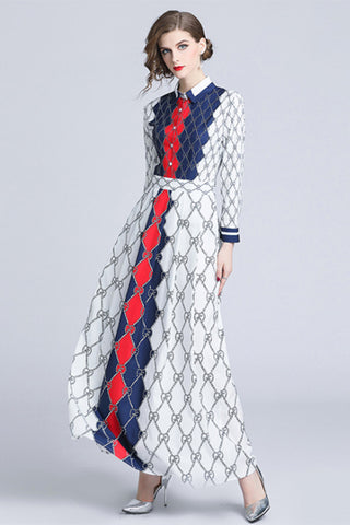 LONG SLEEVE SHIRT COLLAR MAXI DRESS
