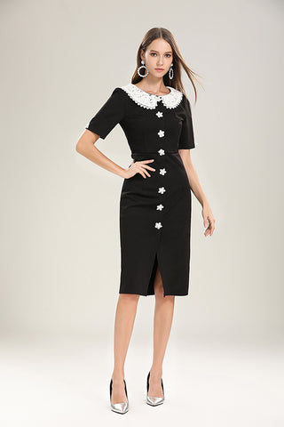 SHORT SLEEVE PETER PAN  COLLAR PATCHWORK MIDI DRESS