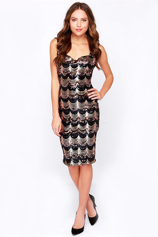 SLEEVELESS LOW CUT SEQUINED SHEATH DRESS