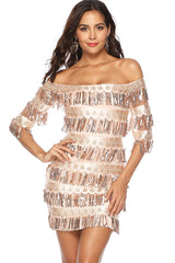 HALF SLEEVE OFF SHOULDER SEQUIN SHEATH DRESS WITH TASSELS