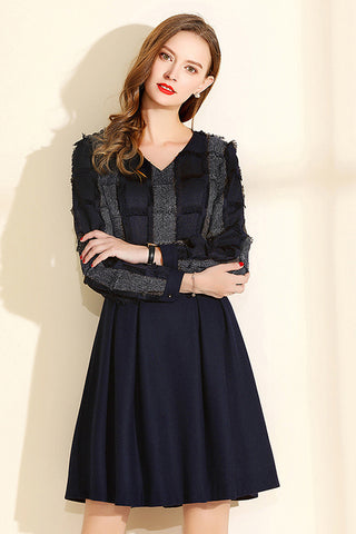 LONG SLEEVE V-NECK SHAGGY A-LINE DRESS
