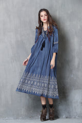 3/4 PUFF SLEEVE V-NECK EMBROIDERY DENIM LOOSE DRESS