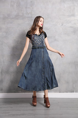 SPAGHETTI STRAPE BUTTON FRONT DENIM DRESS