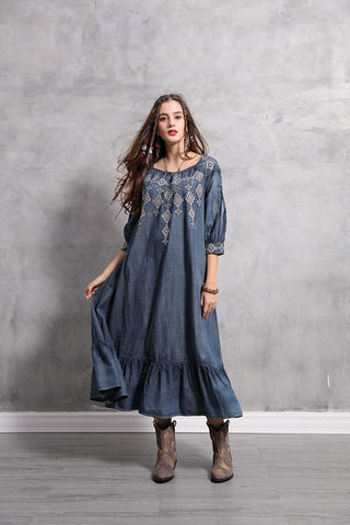 3/4 SLEEVE RUFFLE HEM  DENIM MAXI DRESS
