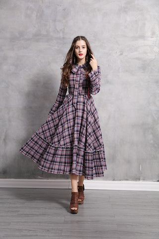 LONG SLEEVE WITH RUFFLE ENDS PLAID MAXI DRESS