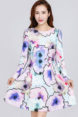 LONG SLEEVE PRINTED FIT & FLARE DRESS