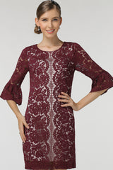 HALF SLEEVE WITH RUFFLE ENDS LACE SHEATH DRESS