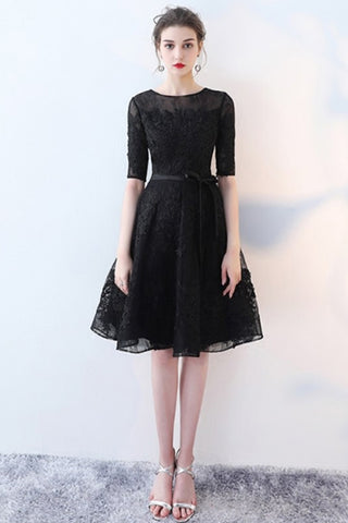 HALF SLEEVE LACE A-LINE DRESS