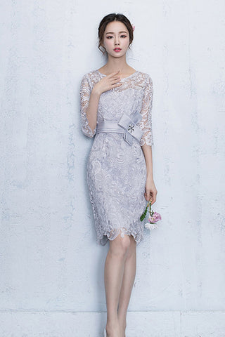 3/4 SLEEVE HOLLOW OUT LACE SHEATH DRESS WITH WAIST BOWKNOT