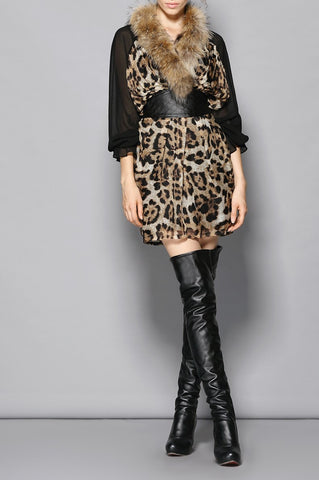 Silk and Fur Trimmed Dress with Faux Leather Belt