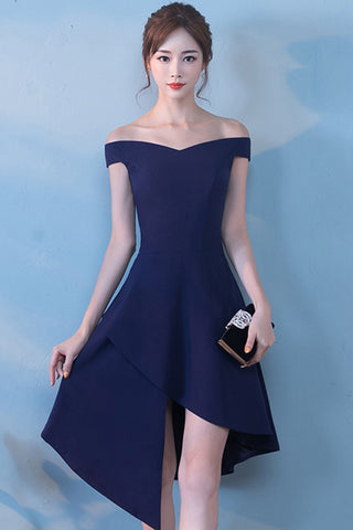 CAP SLEEVE OFF-SHOULDER ASYMMETRIC HEM A-LINE DRESS