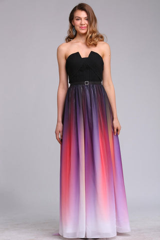STRAPLESS LOW-CUT MAXI DRESS