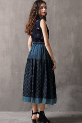 SLEEVELESS DOLL COLLAR BUTTON FRONT FIT & FLARE DENIM DRESS