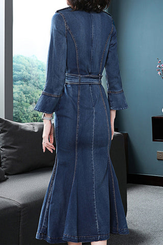 3/4 FLARE SLEEVE STAND UP COLLAR DENIM MERMAID DRESS WITH BELT