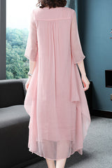 3/4 SLEEVE EMBROIDERY ASYMMETRICAL HEM LOOSE AND FIT DRESS