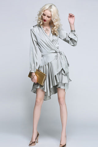 LONG SLEEVE V-NECK ASYMMETRICAL HEM WRAP DRESS