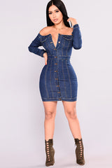 LONG SLEEVE OFF SHOULDER DEEP V-NECK BUTTON FRONT DENIM BODYCON DRESS