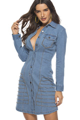 LONG SLEEVE BUTTON FRONT SHIRT COLLAR DENIM SHEATH DRESS