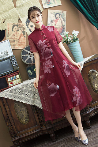 SHORT SLEEVE STAND UP COLLAR TWO LAYER SHIFT DRESS