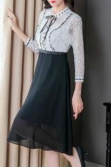 LONG SLEEVE SPLICING FIT & FLARE DRESS WITH RUFFLE LACE TOP