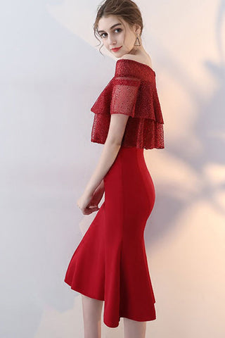 OFF-SHOULDER OVERLAY FORMAL DRESS