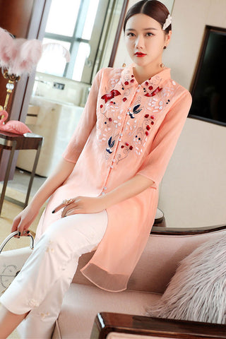 3/4 SLEEVE EMBROIDERED TWO LAYER LONG TOP