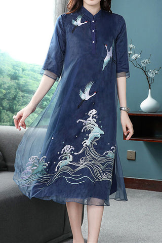 HALF SLEEVE STAND UP COLLAR EMBROIDERDED TWO LAYER SHIFT DRESS