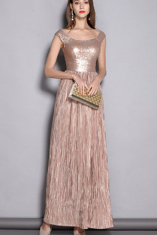 SLEEVELESS BOAT NECK SEQUIN FORMAL DRESS