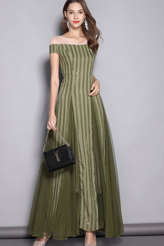 CAP SLEEVE CONTRAST MAXI FORMAL DRESS
