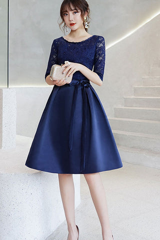 HALF SLEEVE LACE CONTRAST FORMAL DRESS