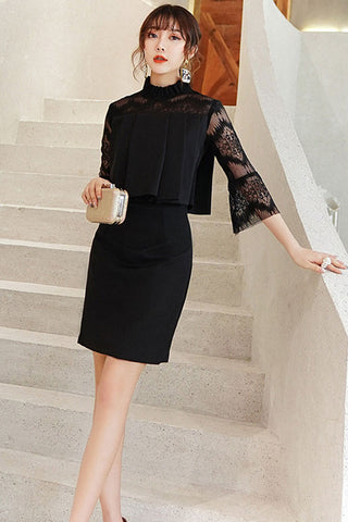 3/4 FLARE SLEEVE PLEATED TOP AND PENCIL SKIRT TWO-PIECE SET