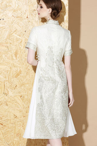 SHORT SLEEVE STAND UP COLLAR EMBROIDERED CONTRAST A-LINE DRESS