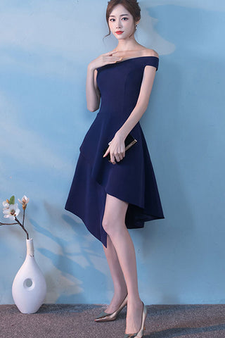 CAP SLEEVE OFF-SHOULDER ASYMMETRICAL HEM A-LINE DRESS