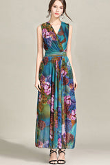 SLEEVELESS FLORAL SURPLICE DRESS