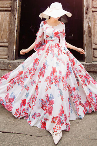 SLEEVE SIDE SLIT FLORAL MAXI DRESS