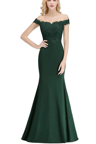 OFF SHOULDER EMBROIDERED MAXI FORMAL DRESS