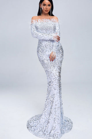 Off Shoulder Sequin Full Length Dress