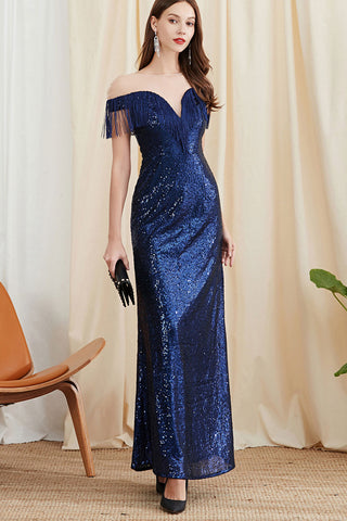 CAP SLEEVE SHEER SHOULDER TASSEL ACCENT SEQUIN MAXI DRESS