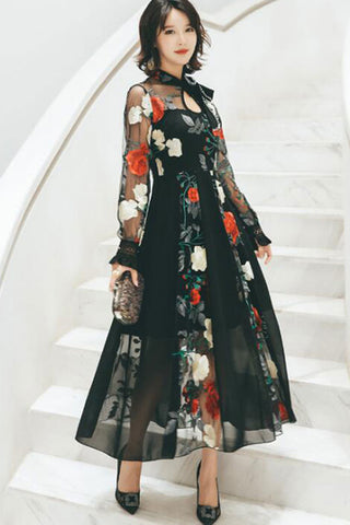 Sheer Sleeve Embroidered Contrast Dress